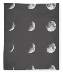 Lunar Phases Fleece Blanket