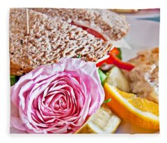 Lunch Sandwich With Pink Rose Garnish Fleece Blanket