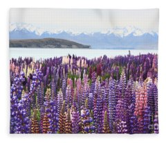 Lupins At Tekapo Fleece Blanket