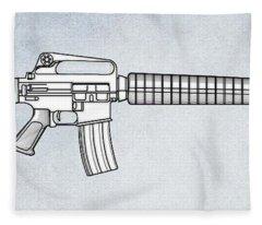 M16 Rifle B Fleece Blanket