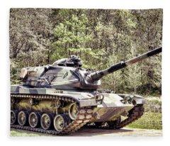 M60 Patton Tank Fleece Blanket