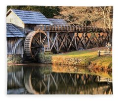 Mabry Grist Mill Fall Panorama Fleece Blanket