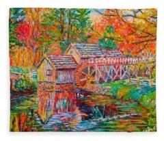 Mabry Mill In Fall Fleece Blanket