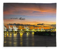 Macarthur Causeway Bridge Fleece Blanket