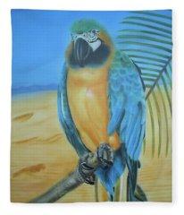 Macaw On A Limb Fleece Blanket