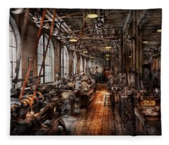 Machinist - A Fully Functioning Machine Shop  Fleece Blanket