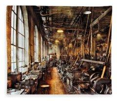 Machinist - Machine Shop Circa 1900's Fleece Blanket