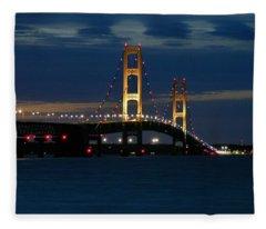 Mackinac Bridge At Dusk Fleece Blanket