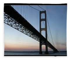 Mackinac Bridge At Sunset Fleece Blanket