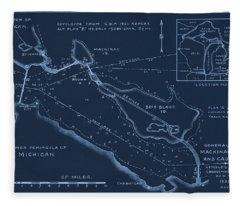 Mackinaw Bridge And Causeway Plans 1933 Fleece Blanket