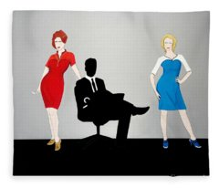Mad Men In Technicolor Fleece Blanket