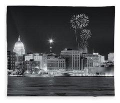 Madison - Wisconsin -  New Years Eve Panorama Black And White Fleece Blanket