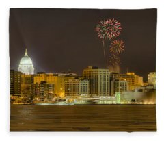 Madison Skyline New Years Eve Fleece Blanket