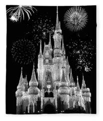 Magic Kingdom Castle In Black And White With Fireworks Walt Disney World Fleece Blanket