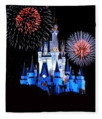 Magic Kingdom Castle In Blue With Fireworks Fleece Blanket