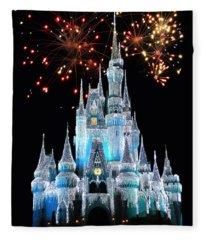 Magic Kingdom Castle In Frosty Light Blue With Fireworks 03 Fleece Blanket