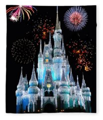 Magic Kingdom Castle In Frosty Light Blue With Fireworks 06 Fleece Blanket