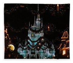 Magic Kingdom Xmas Castle In Frosty Light Blue Fleece Blanket