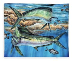 Magical Mahi Mahi Sargassum Fleece Blanket