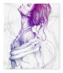Purple Fashion Illustration Fleece Blanket