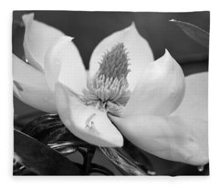 Magnolia In May - Black And White Fleece Blanket
