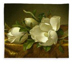 Magnolias On Gold Velvet Cloth Fleece Blanket