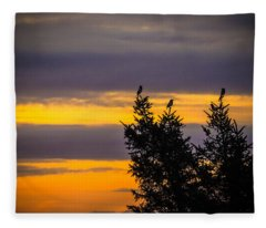 Magpies At Sunrise Fleece Blanket