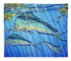 Mahi Mahi In Sargassum Fleece Blanket