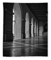 Main Building Arches University Of Texas Bw Fleece Blanket
