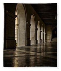 Main Building Arches University Of Texas Fleece Blanket