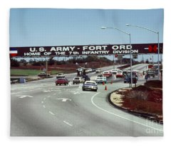 Main Gate 7th Inf. Div Fort Ord Army Base Monterey Calif. 1984 Pat Hathaway Photo Fleece Blanket