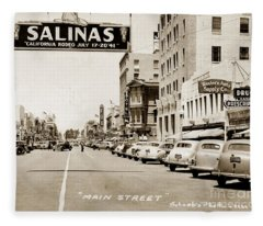 Main Street Salinas California 1941 Fleece Blanket