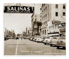 Main Street Salinas California 1941 Fleece Blanket