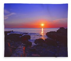 Maine Coast Sunrise Fleece Blanket