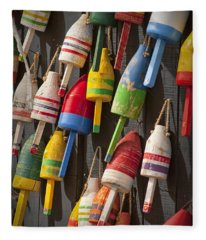 Maine Fishing Buoys Fleece Blanket