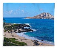 Makapuu Beach With Rabbit Island Fleece Blanket