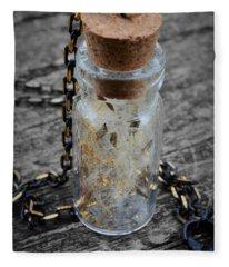 Make A Wish - Dandelion Seed In Glass Bottle With Gold Fairy Dust Necklace Fleece Blanket