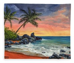 Makena Beach Sunset Fleece Blanket