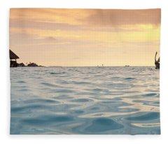 Maldivian Dhoni Sunset Fleece Blanket
