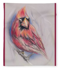 Male Cardinal In Winter Fleece Blanket