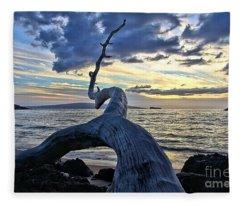 Maluaka Beach Sunset Fleece Blanket