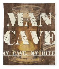 Man Cave My Cave My Rules Fleece Blanket