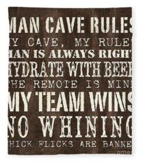 Man Cave Rules 1 Fleece Blanket