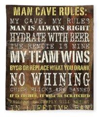Man Cave Rules 2 Fleece Blanket