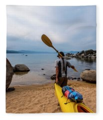 Man With A Paddle Over His Shoulder Fleece Blanket