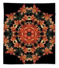 Mandala Daylily Fleece Blanket