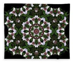 Mandala Trillium Holiday Fleece Blanket