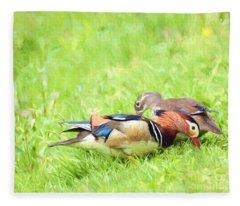 Mandarin Duck Couple Fleece Blanket