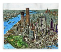 New York Downtown Manhattan 1972 Fleece Blanket