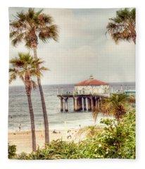 Manhattan Beach Pier Fleece Blanket